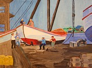 Spring At The Harbor - Tysver's Wharf 1935 Print by Bill Hubbard