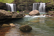 Richland Creek Wilderness Prints - Spring at Twin Falls Print by Matthew Parks