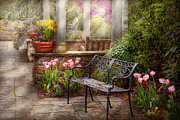 Spring Tulips Photos - Spring - Bench - A place to retire  by Mike Savad