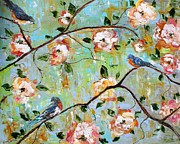 Spring Birds And Blooms Print by Karen Tarlton