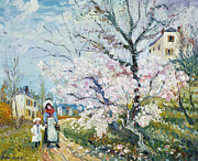 Park Scene Paintings - Spring Blossom by Henri Richet