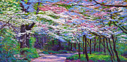 Pathways Painting Framed Prints - Spring Blossom Pathway Framed Print by David Lloyd Glover