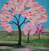 Fiber Art Tapestries - Textiles Prints - Spring Blossoms Print by Terry Aske