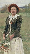 Woman In A Dress Metal Prints - Spring Bouquet Metal Print by Ilya Efimovich Repin