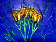 Texture Flower Reliefs Prints - Spring Bouquet Print by Kenneth Clarke