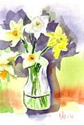 Water Colours Framed Prints - Spring Bouquet Framed Print by Kip DeVore