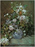 Colorful Floral Posters - Spring Bouquet Poster by Pierre-Auguste Renoir