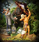 Universal Monsters Posters - Spring Break Party Animals Poster by John Malone