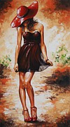 Actress Mixed Media Metal Prints - Spring breeze 04 Metal Print by Emerico Imre Toth