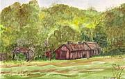 Old Barn Paintings - Spring Bright Against Weathered by Brenda Mullaney