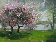 Blooming Painting Originals - Spring by the River by Ylli Haruni
