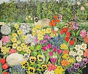 Border Painting Prints - Spring Cats Print by Hilary Jones