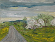 Gravel Road Paintings - Spring Country Road by Francois Fournier
