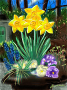 Container Drawings Prints - Spring Daffodils Print by Jean Pacheco Ravinski