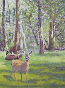 Deer Pastels Posters - Spring Deer Poster by Nancy Jolley