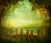 Park Scene Digital Art Prints - Spring design - Forest with wood fence Print by Mythja  Photography