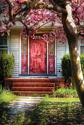 Vintage Houses Posters - Spring - Door - Westfield NJ - Pink Poster by Mike Savad