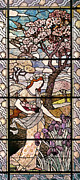 Stained Glass Glass Art Metal Prints - Spring Metal Print by Eugene Grasset