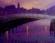 City Buildings Painting Posters - Spring Evening Ha Penny Bridge Dublin Poster by John  Nolan