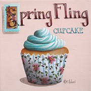 Folk Art Paintings - Spring Fling Cupcake by Catherine Holman