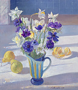 Daffodil Painting Framed Prints - Spring Flowers and Lemons Framed Print by Timothy  Easton