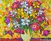 Edulescu Paintings - Spring Flowers Bouquet Colorful Tulips And Daffodils by Ana Maria Edulescu