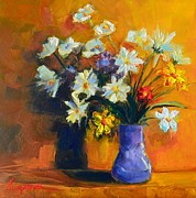 Interior Still Life Painting Metal Prints - Spring Flowers in a Vase Metal Print by Patricia Awapara