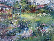Sheds Mixed Media Posters - Spring Flowers Monets Garden Poster by Niamh Slack