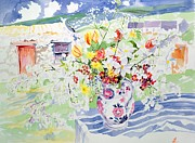 Pottery Painting Posters - Spring Flowers on the Island Poster by Elizabeth Jane Lloyd
