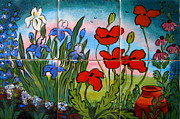 Red Flowers Ceramics - Spring Garden Tile Mural by Carol Keiser