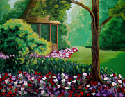 Garden Scene Paintings - Spring garden with gazebo by Nicoletta Filarski