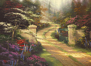 Sunlight Painting Posters - Spring Gate Poster by Thomas Kinkade