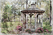 Photomanipulation Photo Prints - Spring Gazebo painteffect Print by Debbie Portwood