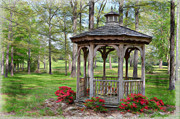 Gazebo Wall Art Prints - Spring Gazebo pastel effect Print by Debbie Portwood