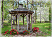 Azalia Bushes Prints - Spring Gazebo photoart Mothers Day Print by Debbie Portwood