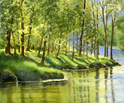 Watercolor Art Paintings - Spring Green Trees with Reflections by Sharon Freeman