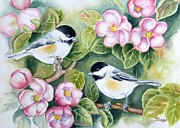 Tree Blossoms Paintings - Spring Greetings by Inese Poga