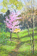 Green Grass Pastels Originals - Spring Has Sprung by Julie Mayser