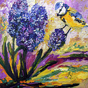 Ginette Fine Art LLC Ginette Callaway - Spring Hyacinth and Titmouse Songbird
