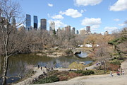New York City Skyscapers Framed Prints - Spring in Central Park Framed Print by Allen Beatty