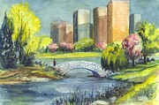 Highrise Drawings Posters - Spring  in Central Park  Poster by Carol Wisniewski