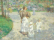 Tranquil Paintings - Spring in Central Park by Childe Hassam