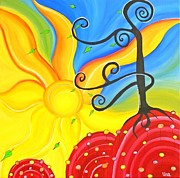 Swirls Paintings - Spring in my step by Una  Miller