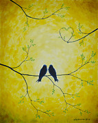 Black And Yellow Metal Prints - Spring is a time of love Metal Print by Veikko Suikkanen