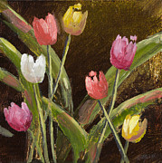 Vic Mastis Originals - Spring is Around the Corner with Gold Leaf by Vic Mastis by Vic  Mastis