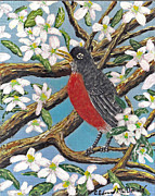 Bird On Tree Painting Prints - Spring Is Coming  Print by Carey MacDonald