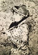 Etching Drawings Framed Prints - Spring   Jeanne Framed Print by Edouard Manet