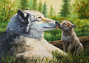 Wolf Paintings - Spring Kisses by Crista Forest