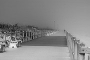 Black And White Surf Photos Prints - Spring Lake Boardwalk - Jersey Shore Print by Angie McKenzie