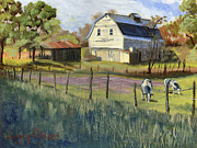 Blue And Green Paintings - Spring Lake Smiling Barn by Jeff Brimley